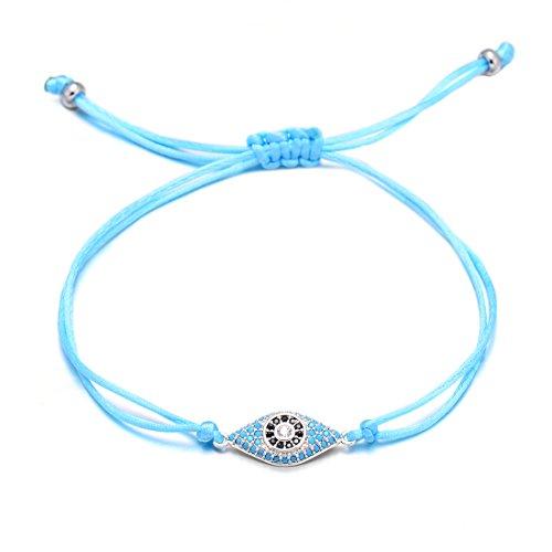 VEKNO Delicate CZ Evil Eye String Bracelets Charm Adjustable Red Rope Bracelet Women Men Jewelry (Blue)