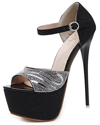 Easemax Womens Elegant Rhinestones Ankle Buckle Strap Peep Toe Platform High Stiletto Heel Sandals Black z4qOCRThmn