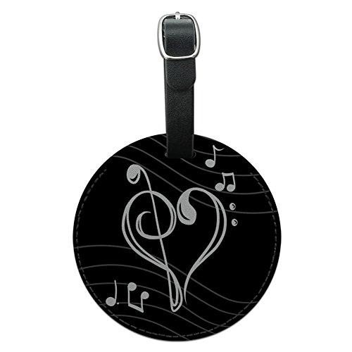 le Bass Clef Heart Music Round Leather Luggage Id Tag Suitcase, Black (Heart Design Luggage Tags)