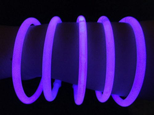 "Glow Sticks Bulk Wholesale Bracelets, 100 8"" Purple Glow Stick Glow Bracelets, Bright Color, Glow 8-12 Hrs, 100 Connectors Included, Glow Party Favors Supplies, Sturdy Packaging, GlowWithUs Brand"