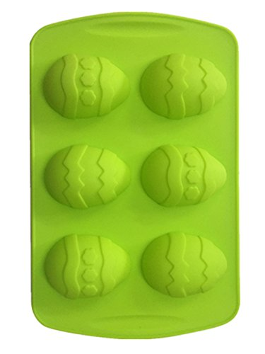 6 Easter Egg Silicone Cake Baking Mold Cake Pan Muffin Cups Handmade Soap Moulds Biscuit Chocolate Ice Cube Tray DIY Mold,Small Size ,Green