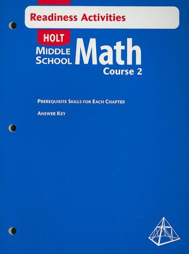 Holt Middle School Math: Readiness Activity with Answer Key Course 2