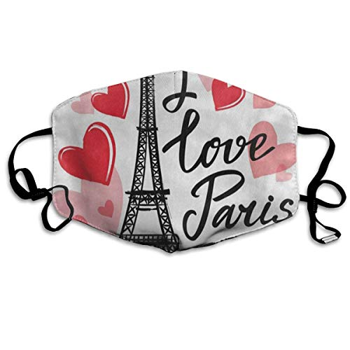 FunnyCustom Anti Dust Mask France Eiffel Tower Heart Phrase Surgical Mask Winter Healthy Windproof for Boys -