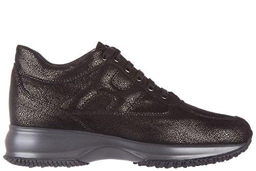 Hogan scarpe sneakers donna in pelle nuove interactive allacciata nero