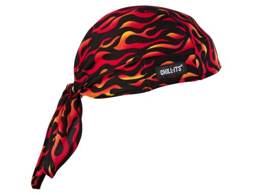 Flame Bandana (Chill-Its 6615 Absorptive Moisture-Wicking Dew Rag, Flames)