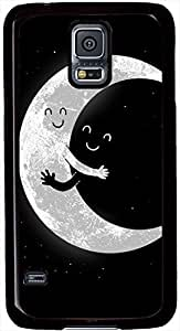 Earth and Moon Hugging Samsung Galaxy S5 Case Durable Protective Case for Black Cover Skin - Compatible With Samsung Galaxy S5 SV i9600