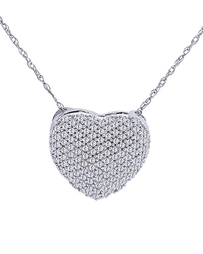 Wishrocks Round Cut White Cubic Zirconia Puffed Heart Pendant Neklace in 925 Sterling Silver