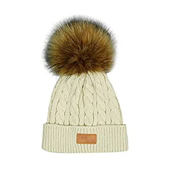 Jarsh Toddler Winter Knitted Faux Fur Pom Pom Cap Infant Kids Solid Knitted Beanie Hat