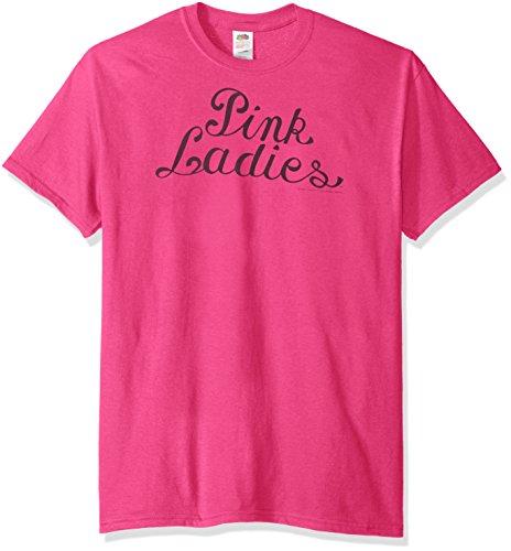 Trevco Men's Grease Ladies Logo T-Shirt, Hot Pink, Medium (Grease 2 Pink Ladies)