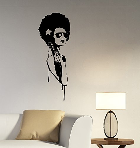 Gangster Girl Wall Decal Sexy Hippie Glamour Woman Vinyl Sticker Fashion Art Decorations for Home Beauty Makeup Salon Studio Room Decor sg1 -