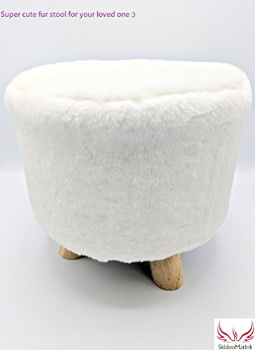 Small Faux Fur (SKM Premium round ottoman with short faux fur Round Foot Stool Small Stylist Trendy Cute Kid Chair Real Wood Leg Perfect Stylish Trendy decor for anywhere (White))