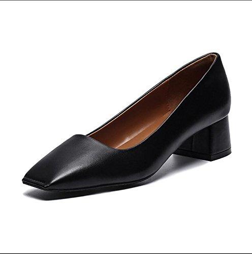 Xue Xue Xue Qiqi Court Schuhe der Quadratische Kopf der Frauen Beschuht mit Den Schuhen der Flachen Schuhe der Flachen Schuhe der Einzelnen Wilden Wilden Volltonfarbe mit Schaufelschuhen 35 Schwarz a5556a