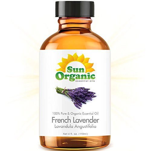 Французский Лаванда - большой 4 OUNCE - органическая, 100% чистые эфирные масла (Best 4 жидких унций / 118мл) - Sun Органическая