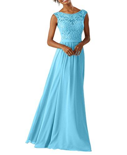 Jugendweihe Elegant Abendkleider Damen Charmant Kleider A Spitze Lang Linie Chiffon Blau Partykleider Brautjungfernkleider XF5xYgwgq