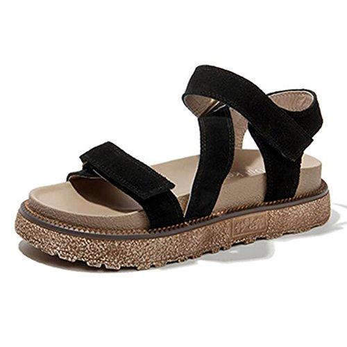 cn36 Plano Negro Tamaño 3 Fondo Sandalias Retro De Eu36 Moda Colores Femeninas uk4 Gruesa Negro 230 Lixiong color Verano zapatos xAXTqxS