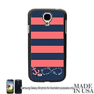 Anchor Live the Life You Love Infinity Quote - Navy Coral Nautical Stripped with Anchor Samsung Galaxy S IV S4 GT-I9500 Hard Case - BLACK by Unique Design Gifts [MADE IN USA]