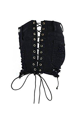 Tagliato Sexy Denim Black Le Angosciato Pantaloni Strappato I Occasionale Jeans Donne Shorts Mini xqCFtwYp