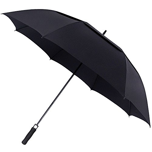 ACEIken Golf Umbrella Windproof Large 62 Inch, Double Canopy Vented, Automatic Open, Extra Large Oversized,Sun Protection Ultra Rain & Wind Resistant Stick Umbrellas, Black (Nylon Golf Umbrella)