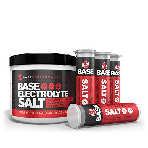 BASE Performance electrolyte salt | 226 Servings tub with 4 refillable race vials. Prevent cramping and gastrointestinal distress using an all natural formula rapidly absorbed. Review
