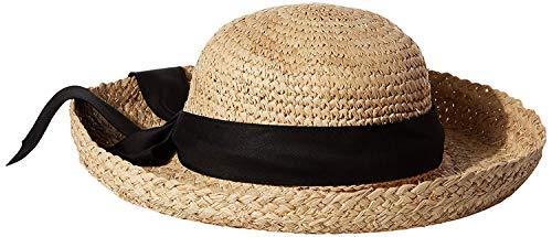 SCALA Women's Crocheted Crown Raffia Hat, Natural, One Size ()