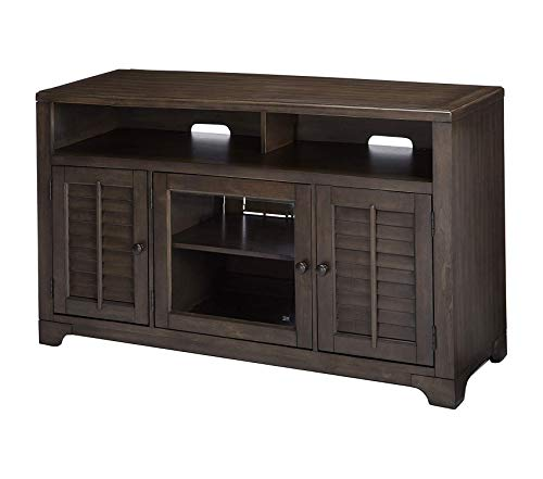 Wood & Style TV Stand Storage Console with Glass Doors Cherry Finish Decor Comfy Living Furniture Deluxe Premium Collection