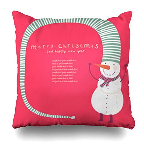 Decor Champ Throw Pillow Covers Winter Red Party Funny Snowman Christmas Text Holidays Fun Pattern Snow Cute Tree Home Decor Sofa Pillowcase Square Size 18 x 18 Inches Cushion Case