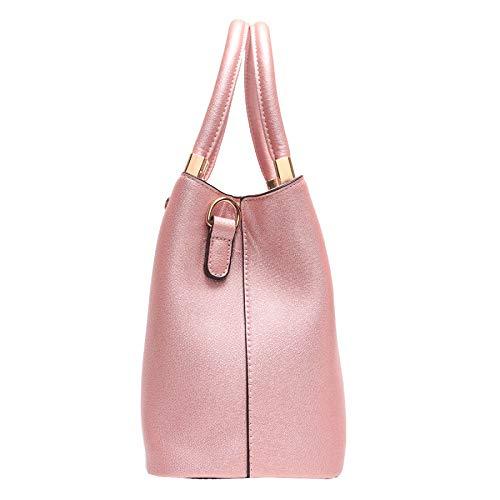 Donna Spalla Borsette Borse Pink Tracolla 2 Borsellino Pezzi Pu Mano Contrasto Cuoio Tote Borsa Moda A zFrzWH