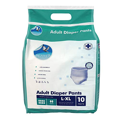 Glider Adult Diaper Pull Ups LARGE-XL – Pant Style (Count 10), (35-47 inch, 90-120 cm)