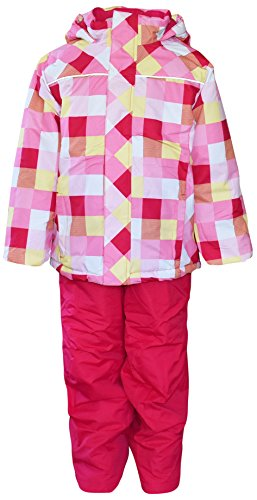 Pulse Little Girls and Toddler Snowsuit Ski Jacket and Snow Pants (Large 7, Pink Plaid) ()