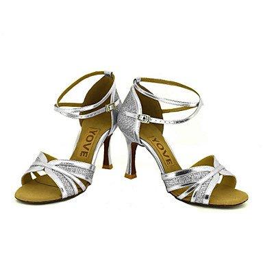 XIAMUO Anpassbare Frauen Beruf Tanz Schuhe, Sliver, US 8 / EU 39/UK6/CN 39