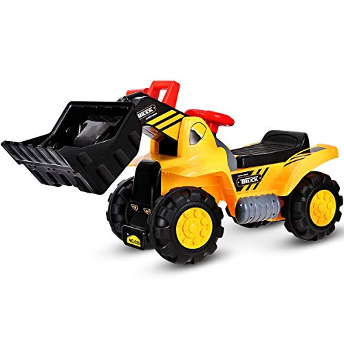 Costzon Kids Ride On Construction Bulldozer, Outdoor Digger Scooper Pulling Cart W/Front Loader Digger Horn Underneath Storage, Children Pretend Play Truck Toy ()