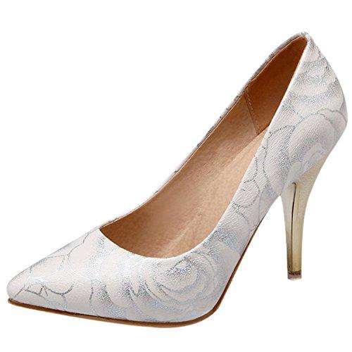Azbro Mujer Zapato Floral con Bomba Slip-on de Tacón Alto con Puntera Punta Blanco