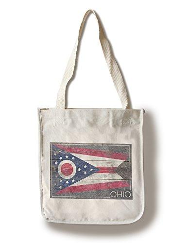 Lantern Press Rustic Ohio State Flag (100% Cotton Tote Bag - Reusable)
