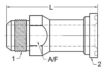 Brennan Industries 1700-20-24 Straight Hydraulic Adapter JIC Flare by Code 61 Flange Thread 1 5//8-12 1700 Series Flange 1.50 Thread 1 5//8-12 Flange 1.50