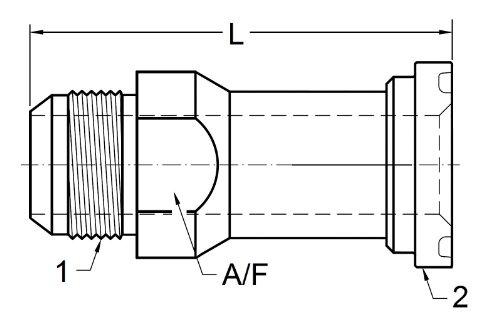 Brennan Industries 1700-16-24 Straight Hydraulic Adapter, 1700 Series, JIC Flare by Code 61 Flange, Thread 1 5/16-12'', Flange 1.50'' by Brennan Industries (Image #2)