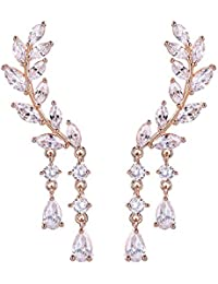 67395b224 Chichinside CZ Crystal Leaves Ear Cuffs Climber Earrings Sweep up Ear Wrap  Pins 1 Pair