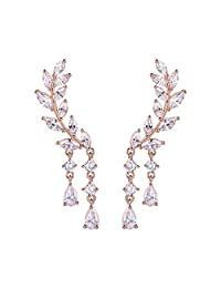Chichinside CZ Crystal Leaves Ear Cuffs Climber Earrings Sweep up Ear Wrap Pins 1 Pair (rose gold-plated-base)