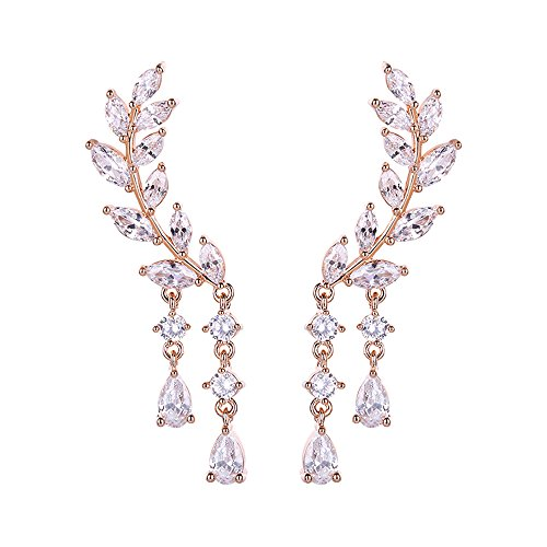 (Chichinside CZ Crystal Leaves Ear Cuffs Climber Earrings Sweep up Ear Wrap Pins 1 Pair (rose gold-plated-base))