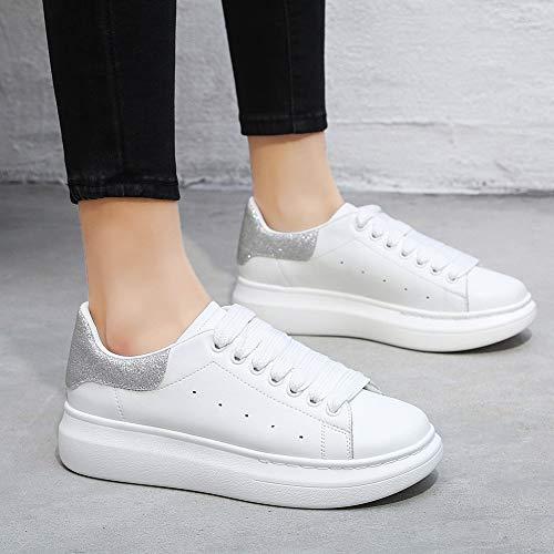lucente Da Sneaker Outdoor nessuna Bianco Donna Yorwor Platform Comoda Suola Scarpe Bianco Ginnastica Leggera Lettera Argento Con Basse Piattaforma Zp0qxx5wX