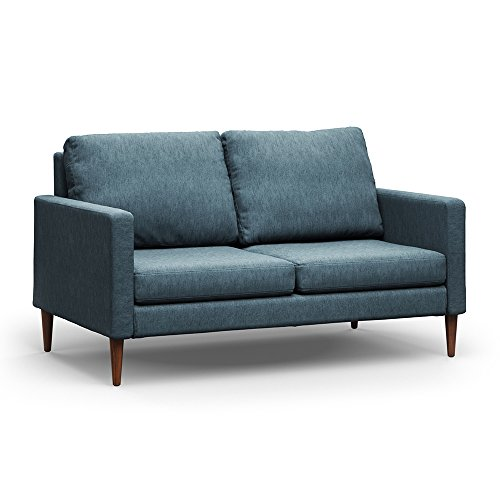 Campaign Steel Frame Brushed Weave Loveseat, 61 Inches, Meridian Blue with Mahogany Stained Solid Oak Legs