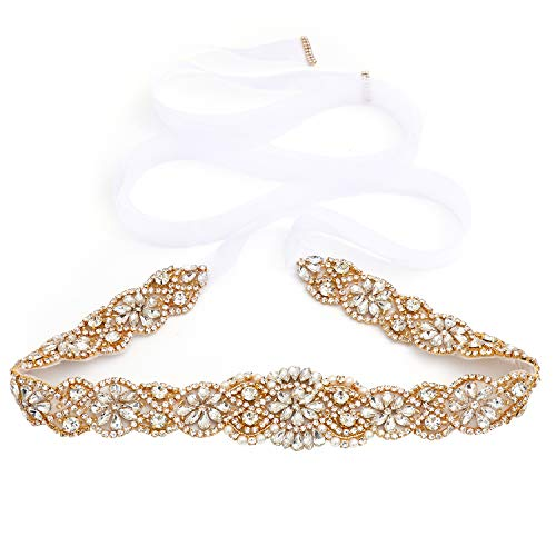 Yanstar Handmade Gold Crystal Beads Rhinestone Bridal Wedding Belt Sash With White Organza For Bridal Wedding Party Gowns Dress