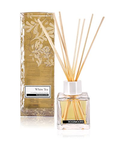 Rosemoore White Tea Scented Reed Diffuser For Living Room, Washroom, Bedroom, Office - 200 ml With 10 Reed Sticks