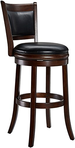 Ball Cast Jayden Wooden Swivel Bar Stool with Faux-Leather Upholstery, 29-Inch, Espresso