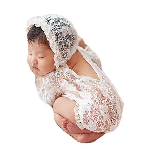Baby Photography Props Lace Hats Rompers Newborn Girl Photo Shoot Outfits Hat Set Infant Princess Costume (White)