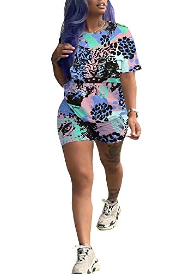 定期的に潜むハチAngelSpace 女性2ピースジャンプスーツTシャツボディコンショーツは、フィットロンパスを設定