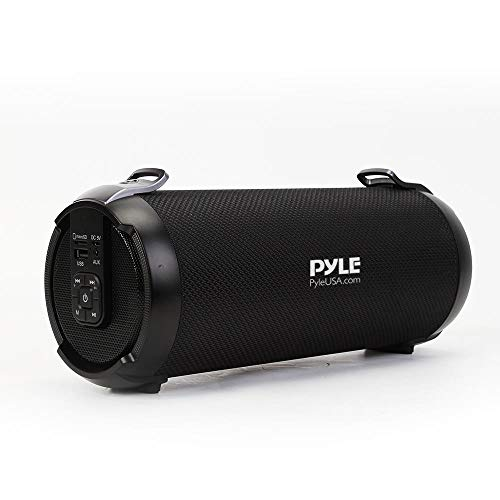 Wireless Portable Bluetooth Boombox Speaker - 200 Watt Rechargeable Boom Box Speaker Portable Music Barrel Loud Stereo System with AUX Input, MP3/USB/SD Port, Fm Radio, 4' Tweeter - Pyle PBMSPG1BK