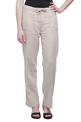 Flax Linen Pants (Missy Women's Wide bottom Linen pants with pockets Flax XL)