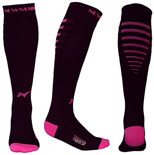 Compression Socks for Men & Women, BEST Graduated Stockings for Runners, Nurses, Pregnancy, Plantar Fasciitis, Shin Splints, Hiking, Cycling, Walking, Athletic, Travel, Recovery (Black & Pink, (Lycra Womens Stocking)