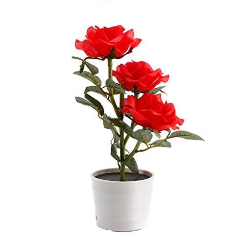 LEDMOMO Solar Flower Pot LED light Rose Flower Table Lamp 3 Lights Flower LED Flexible Flower Desk Lamp for Home Garden Room Decoration (Red) (Flower Table Lamp)