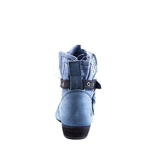 Felmini - Zapatos para Mujer - Enamorarse com Lisboa 8291 - Botas Cowboy & Biker - Tela + Cuero Genuino - Azul - 0 EU Size Azul